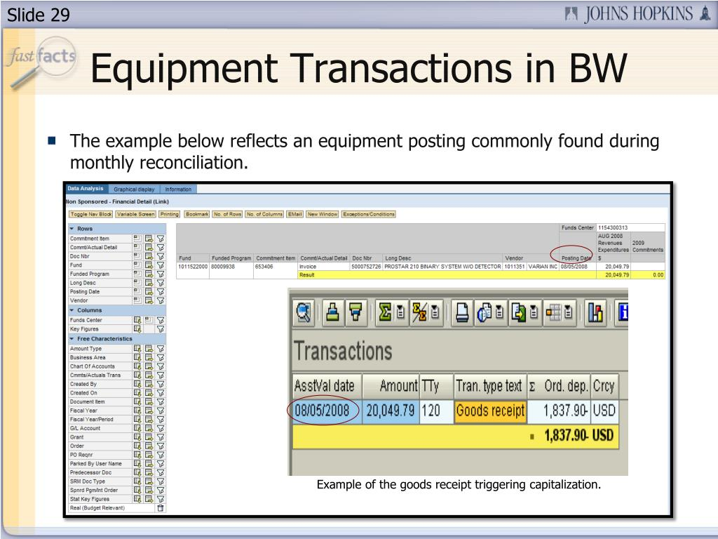 Equipment Transactions in BW