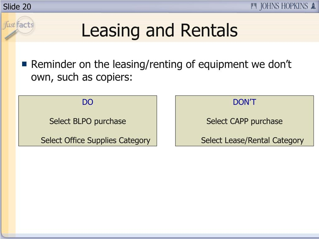 Leasing and Rentals