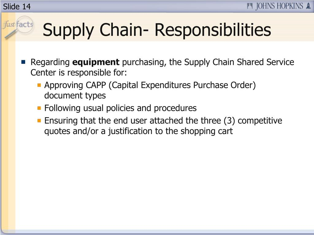 Supply Chain- Responsibilities