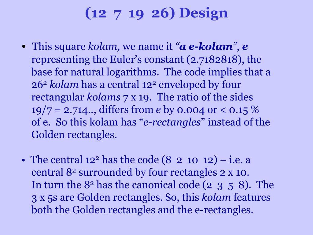 (12 7 19 26) Design