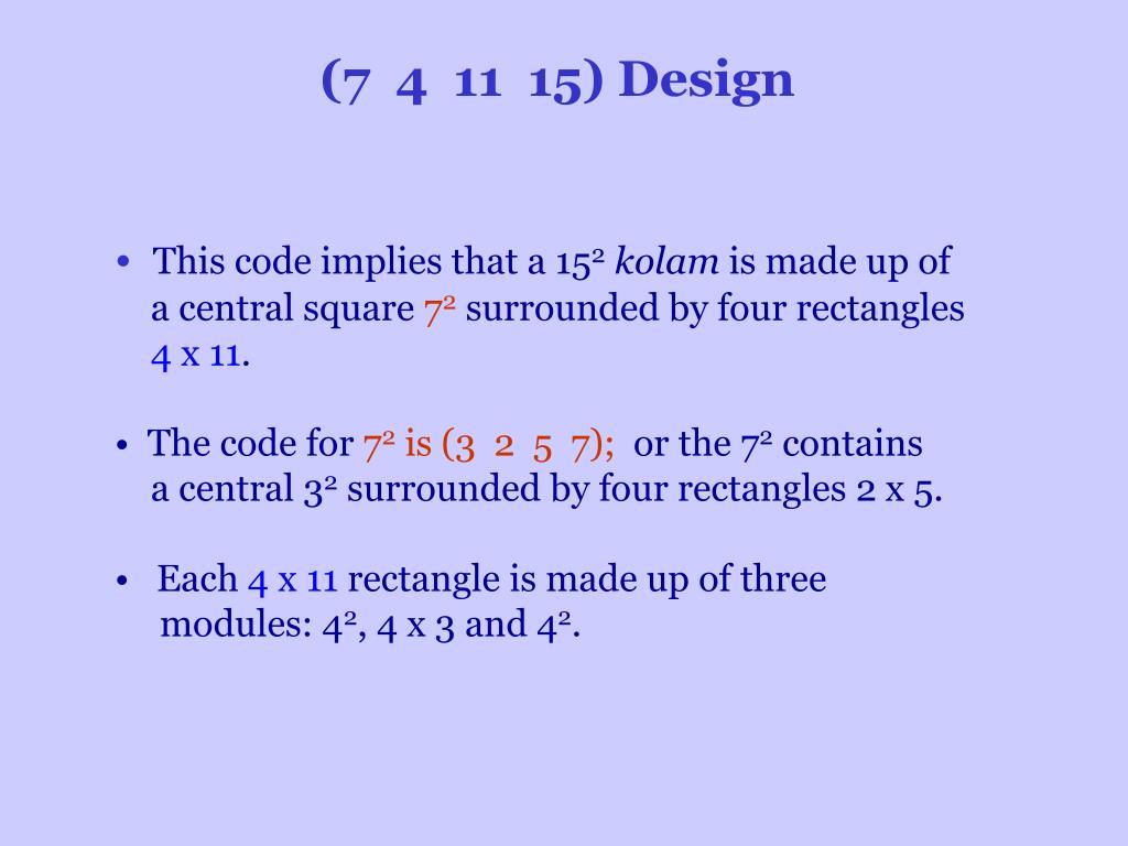 (7 4 11 15) Design