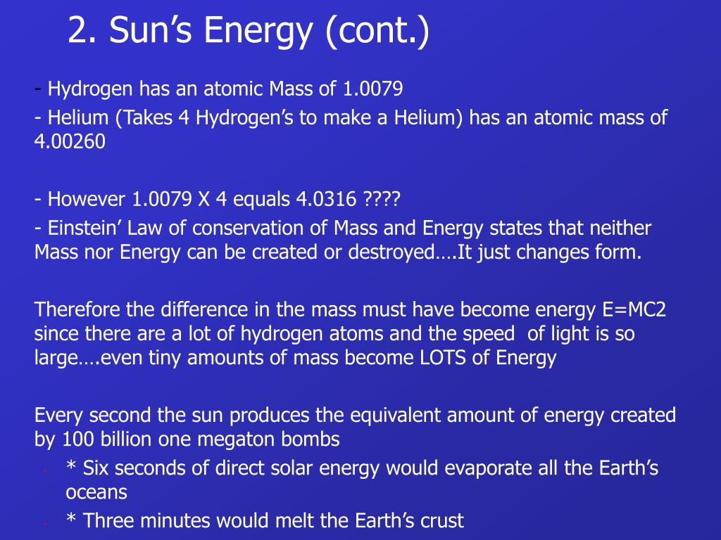 2. Sun's Energy (cont.)