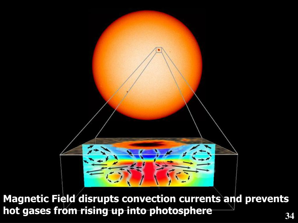 Magnetic Field disrupts convection currents and prevents hot gases from rising up into photosphere