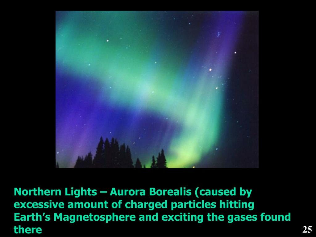 Northern Lights – Aurora Borealis (caused by excessive amount of charged particles hitting Earth's Magnetosphere and exciting the gases found there