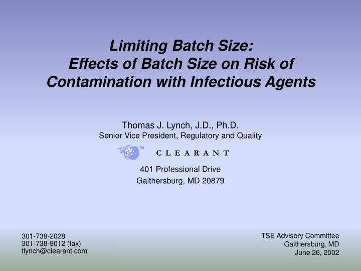 Limiting batch size effects of batch size on risk of contamination with infectious agents