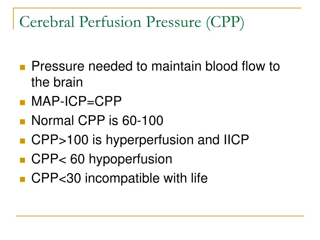 Cerebral Perfusion Pressure (CPP)
