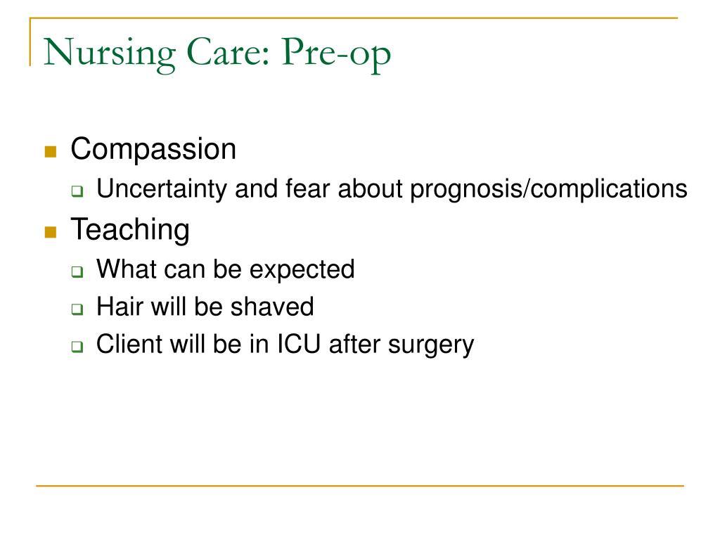 Nursing Care: Pre-op