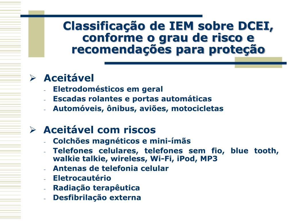 Classificação de IEM sobre DCEI, conforme o grau de risco e recomendações para proteção
