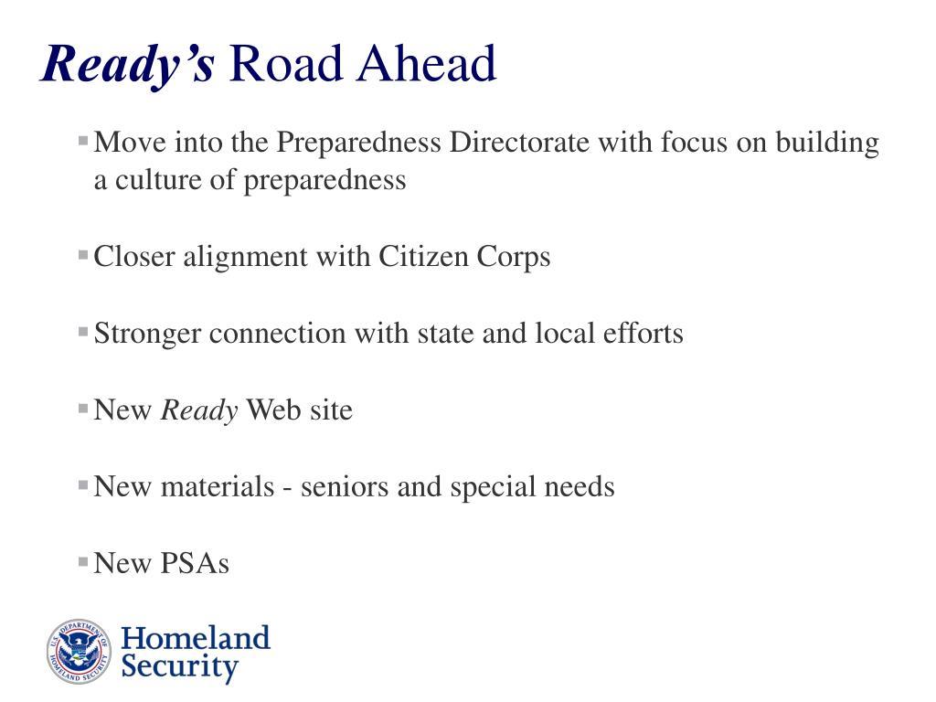 Move into the Preparedness Directorate with focus on building a culture of preparedness