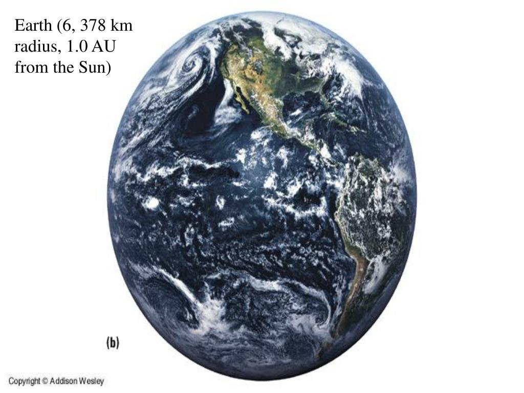 Earth (6, 378 km radius, 1.0 AU from the Sun)