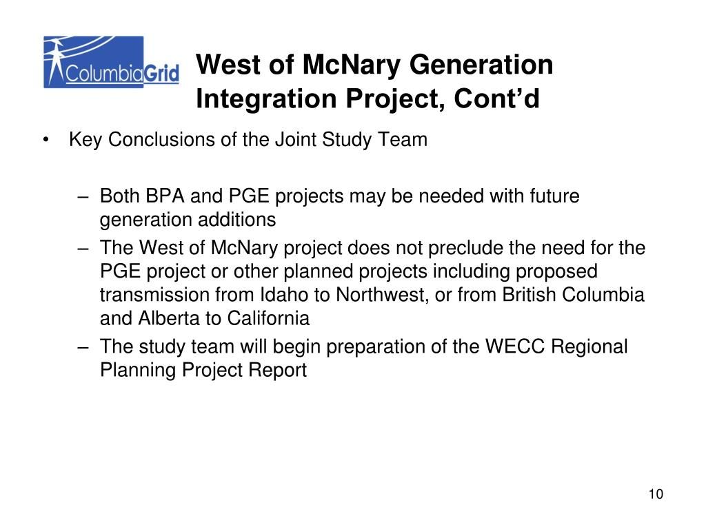 West of McNary Generation