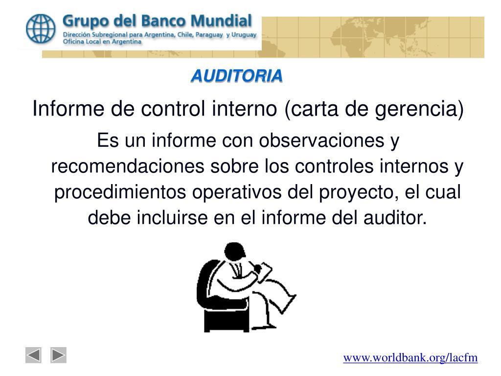 Informe de control interno (carta de gerencia)