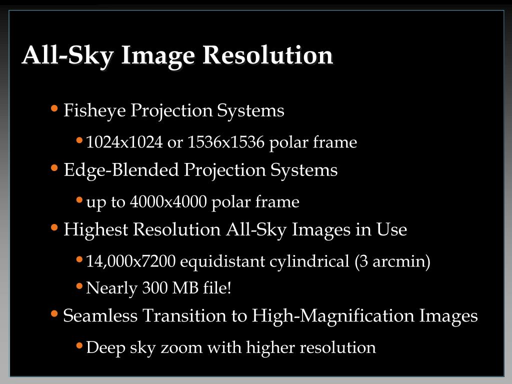 All-Sky Image Resolution