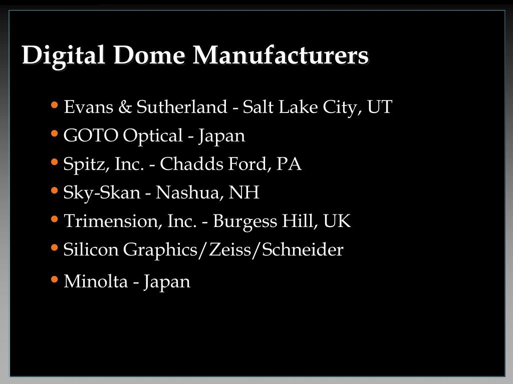 Digital Dome Manufacturers