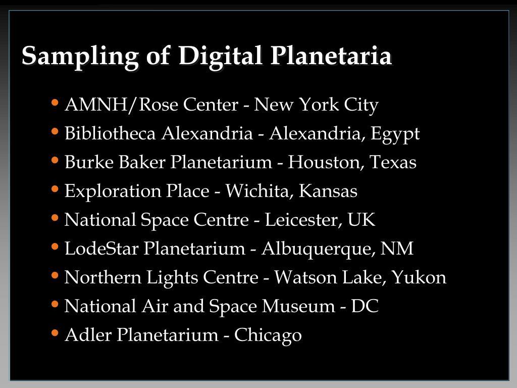 Sampling of Digital Planetaria