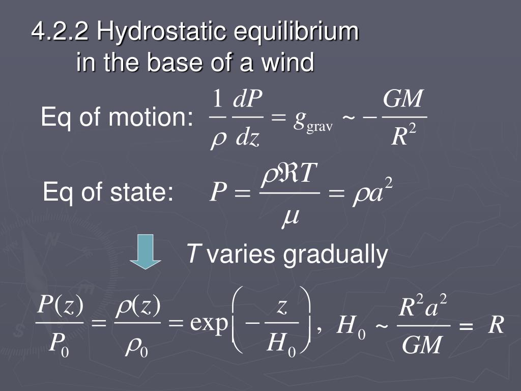 4.2.2 Hydrostatic equilibrium in the base of a wind