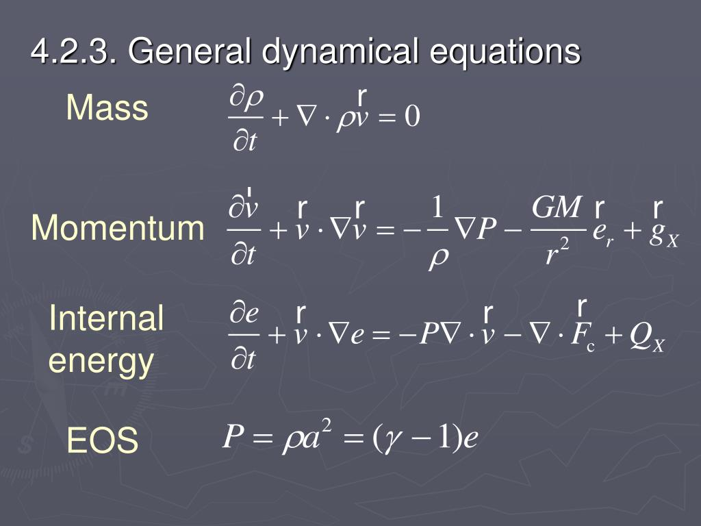 4.2.3. General dynamical equations