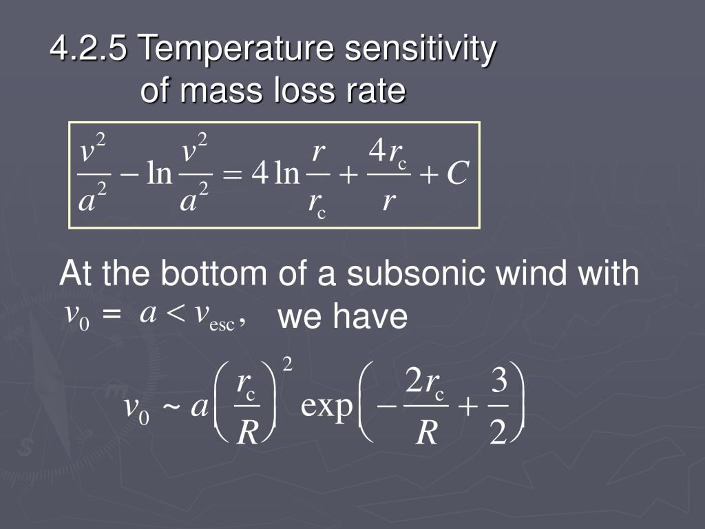 4.2.5 Temperature sensitivity of mass loss rate