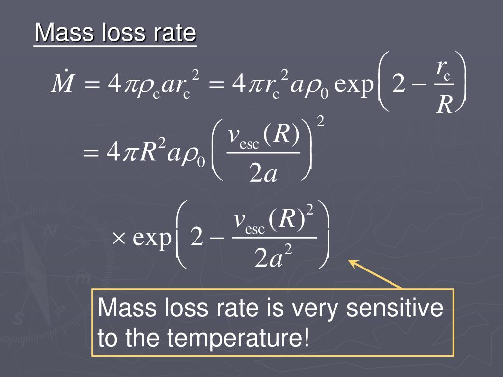 Mass loss rate is very sensitive to the temperature!