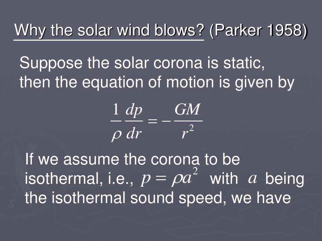 Why the solar wind blows? (Parker 1958)