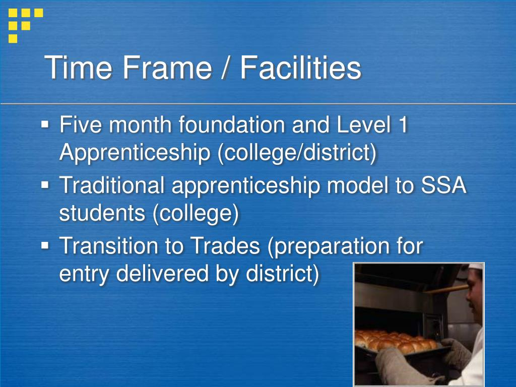 Time Frame / Facilities