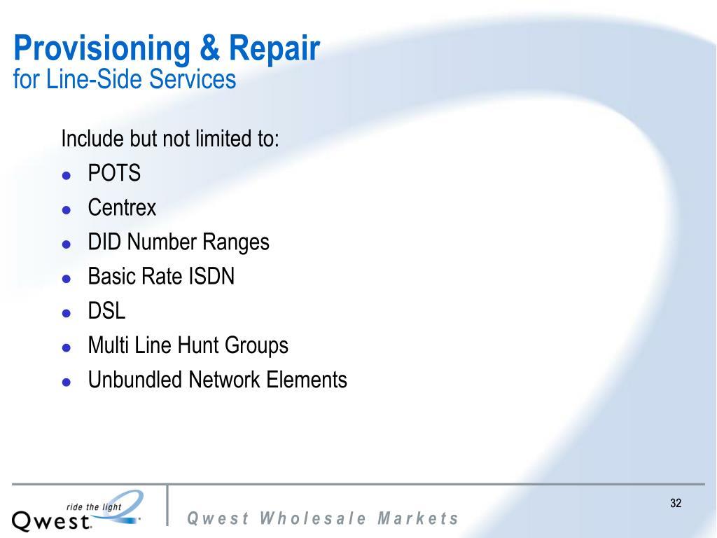 Provisioning & Repair