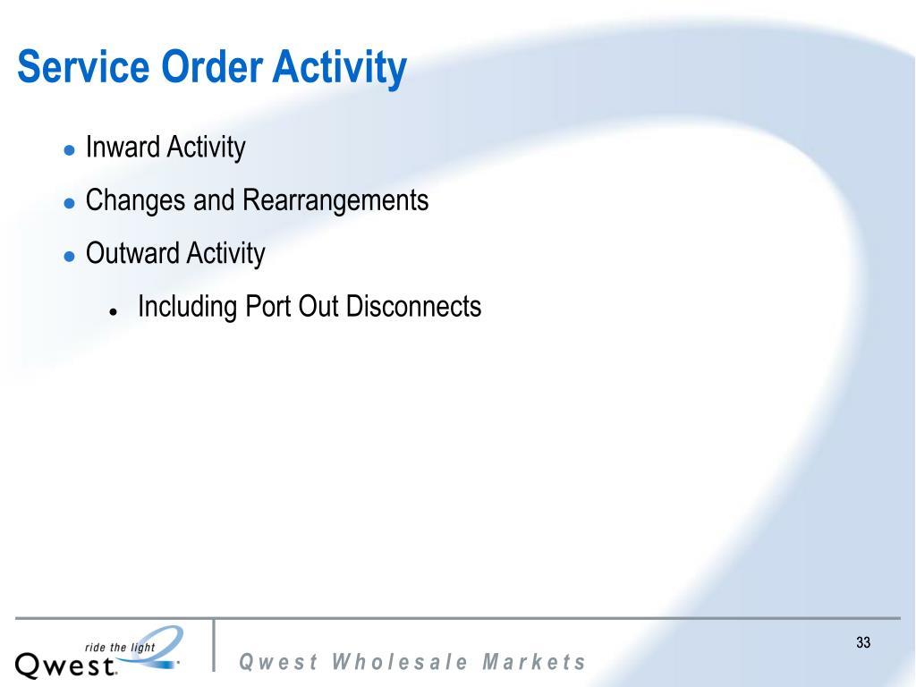 Service Order Activity