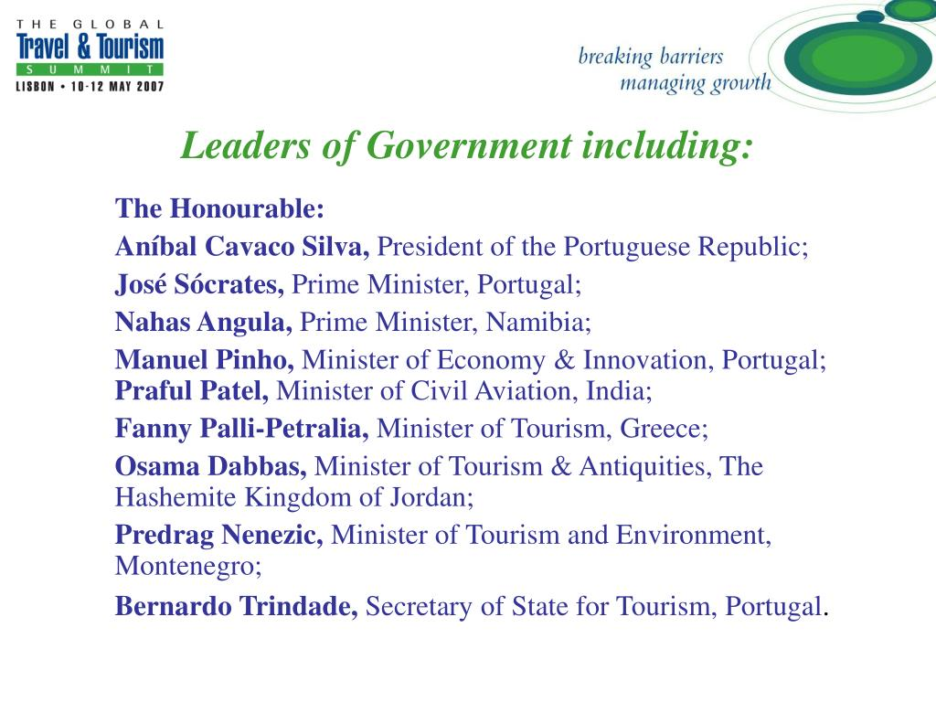 Leaders of Government including: