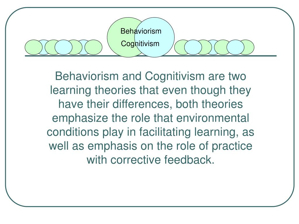 cognitivism psychology and instructional design theories In spence, kw and spence, jt the psychology of learning and motivation,   cognitive load theory (clt) is an instructional design theory that reflects our.