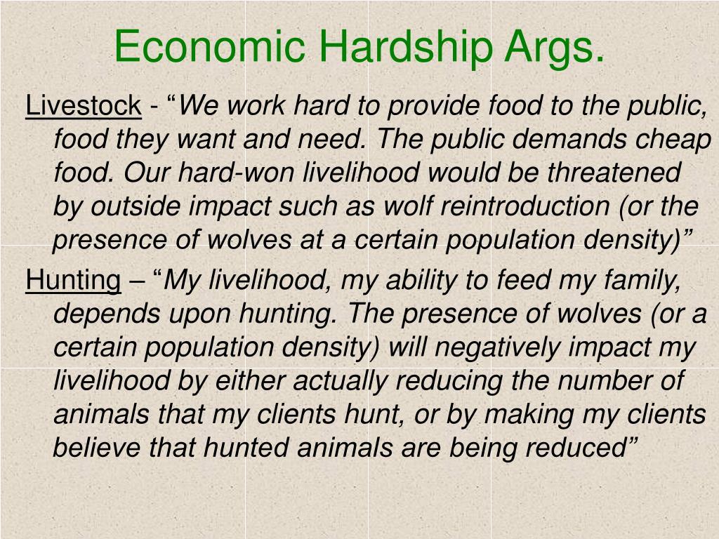 Economic Hardship Args.