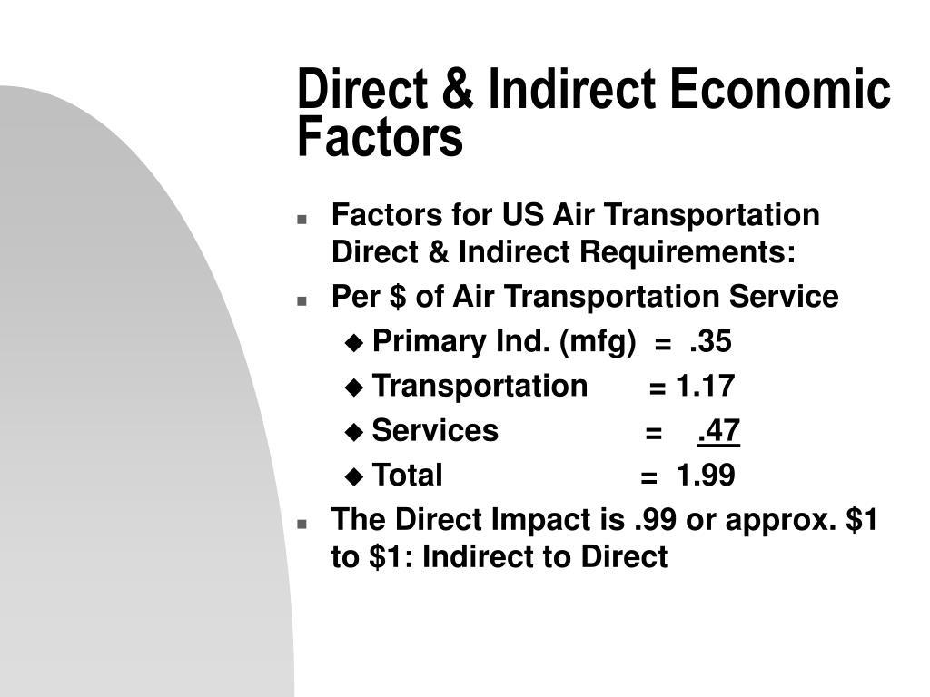 Direct & Indirect Economic Factors