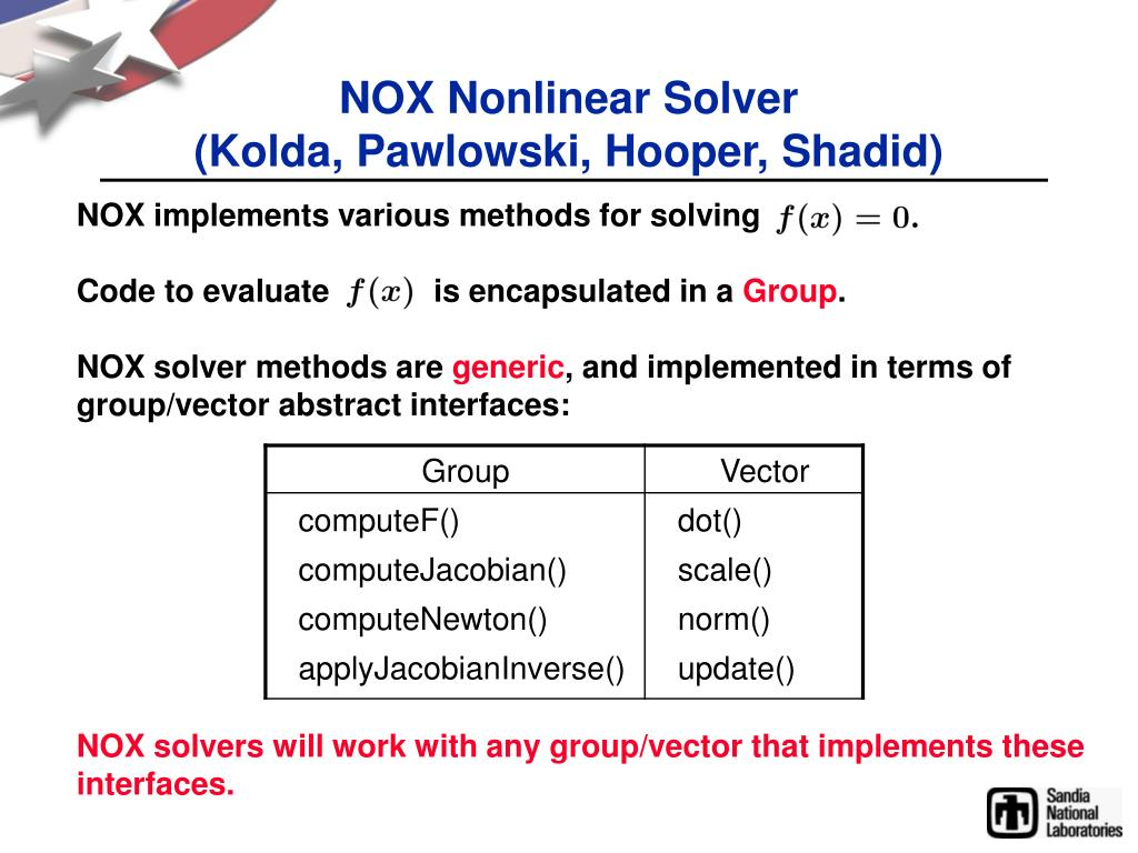 NOX Nonlinear Solver