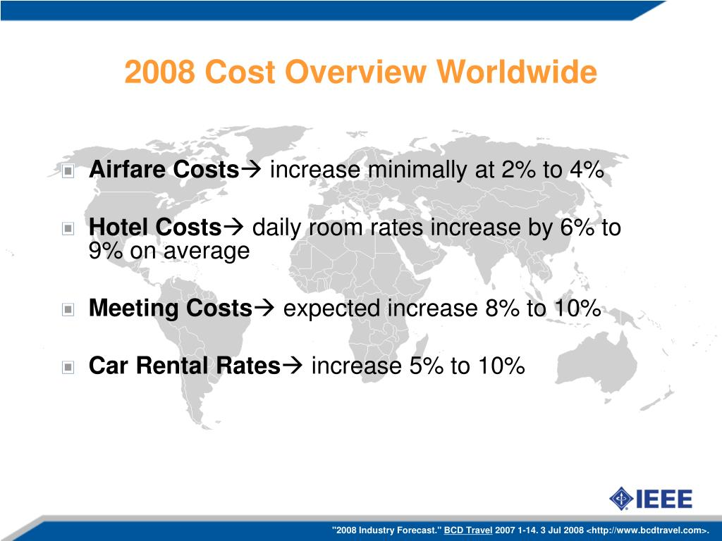 2008 Cost Overview Worldwide