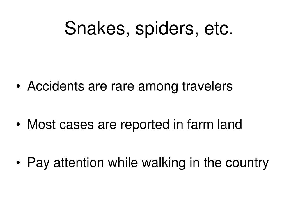 Snakes, spiders, etc.