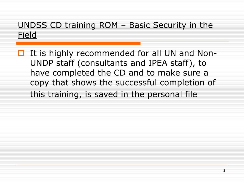 UNDSS CD training ROM – Basic Security in the Field