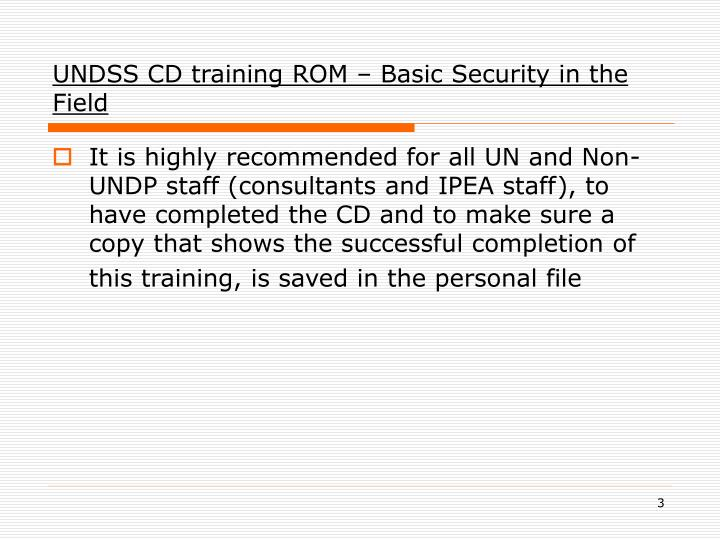 Undss cd training rom basic security in the field