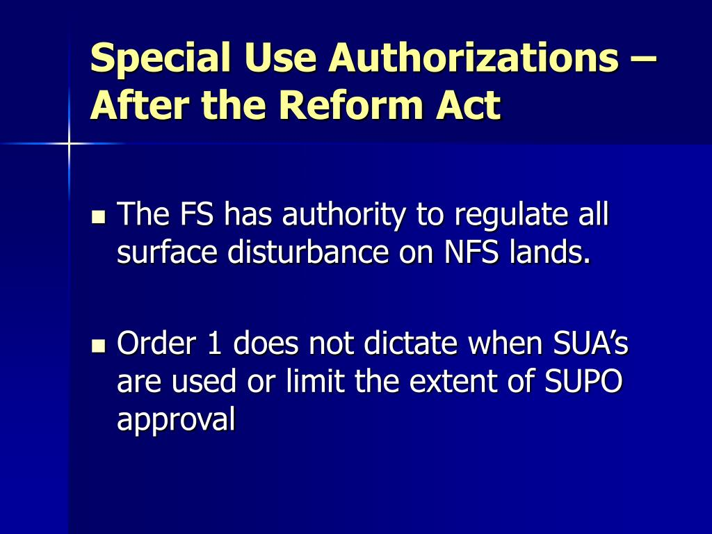 Special Use Authorizations – After the Reform Act
