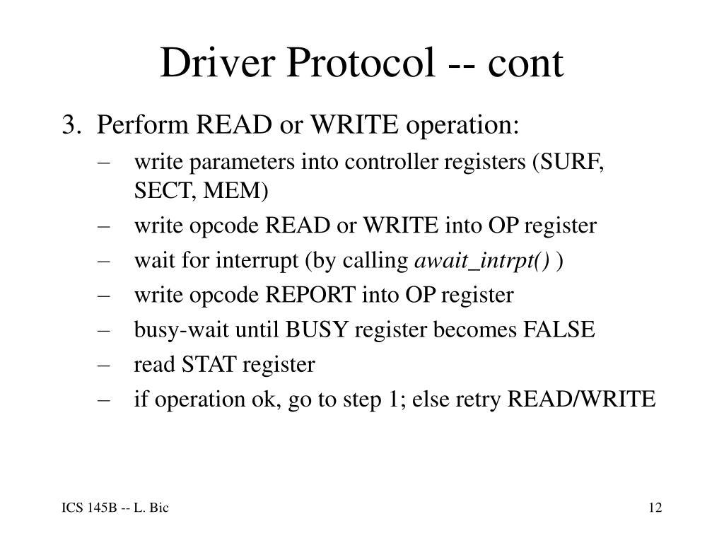 Driver Protocol -- cont