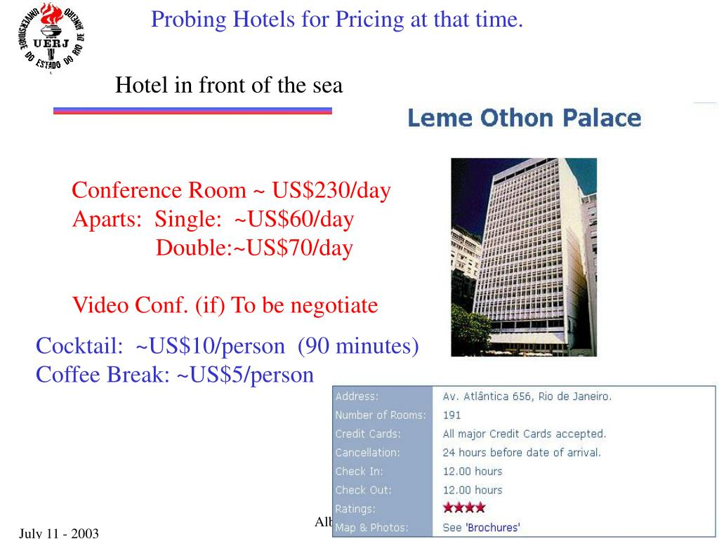 Probing Hotels for Pricing at that time.