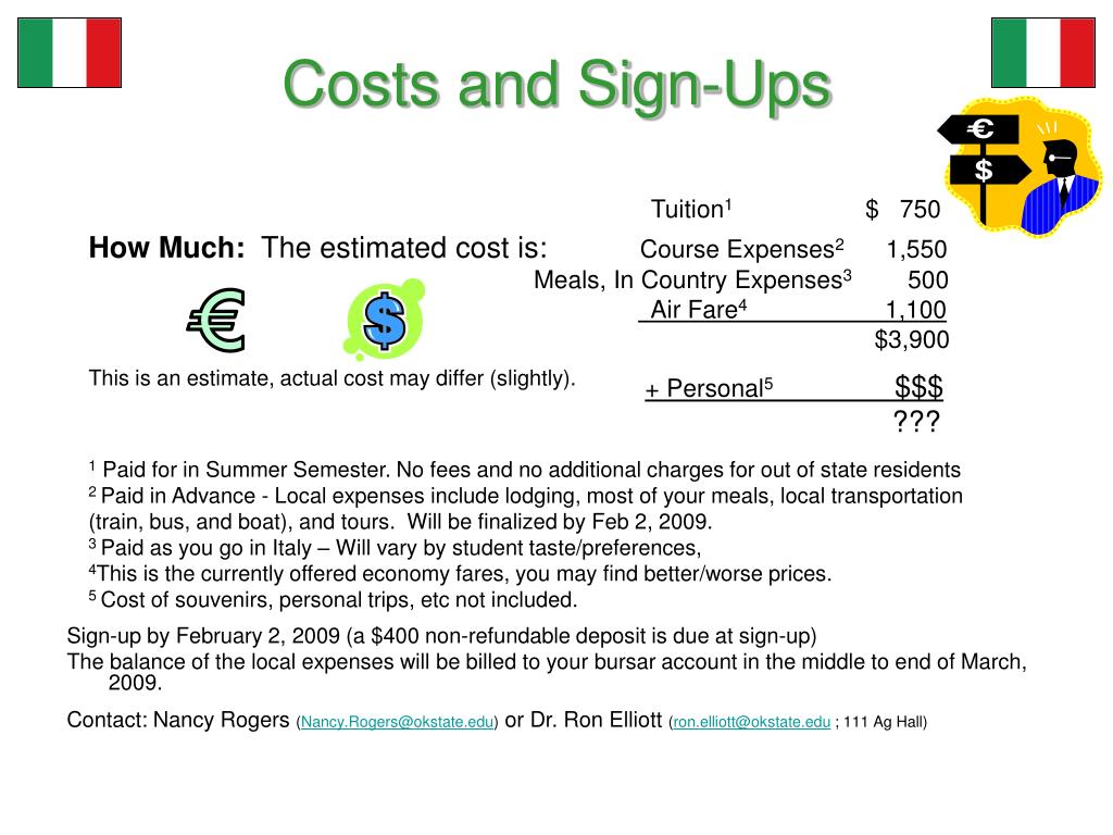 Costs and Sign-Ups