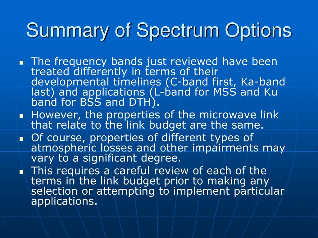 Summary of Spectrum Options