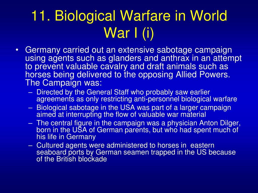 11. Biological Warfare in World War I (i)