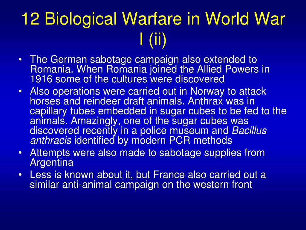 12 Biological Warfare in World War I (ii)
