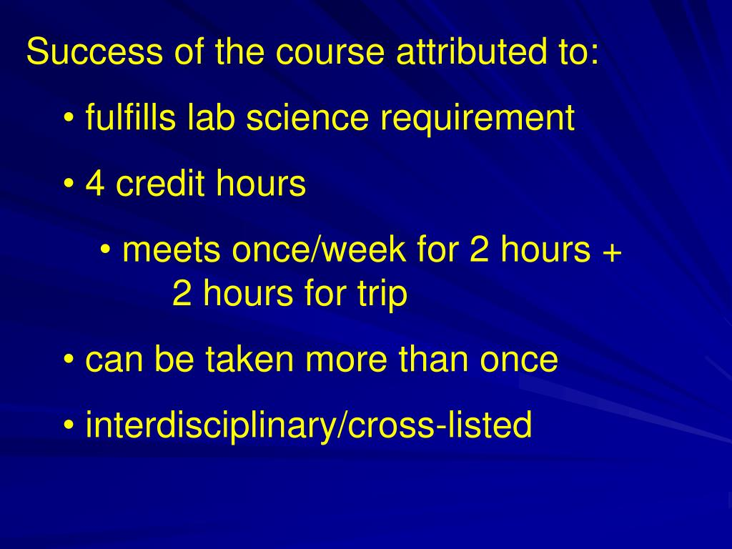 Success of the course attributed to: