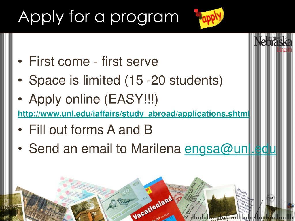 Apply for a program