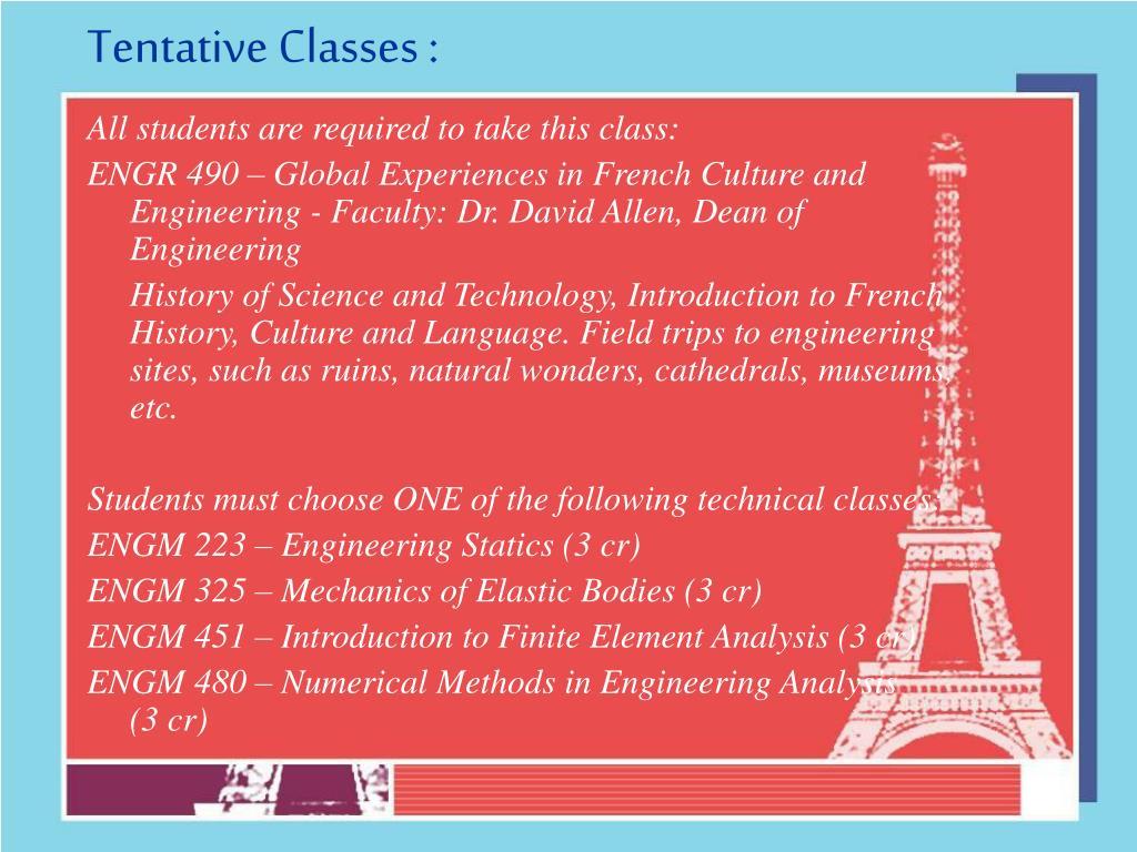Tentative Classes :