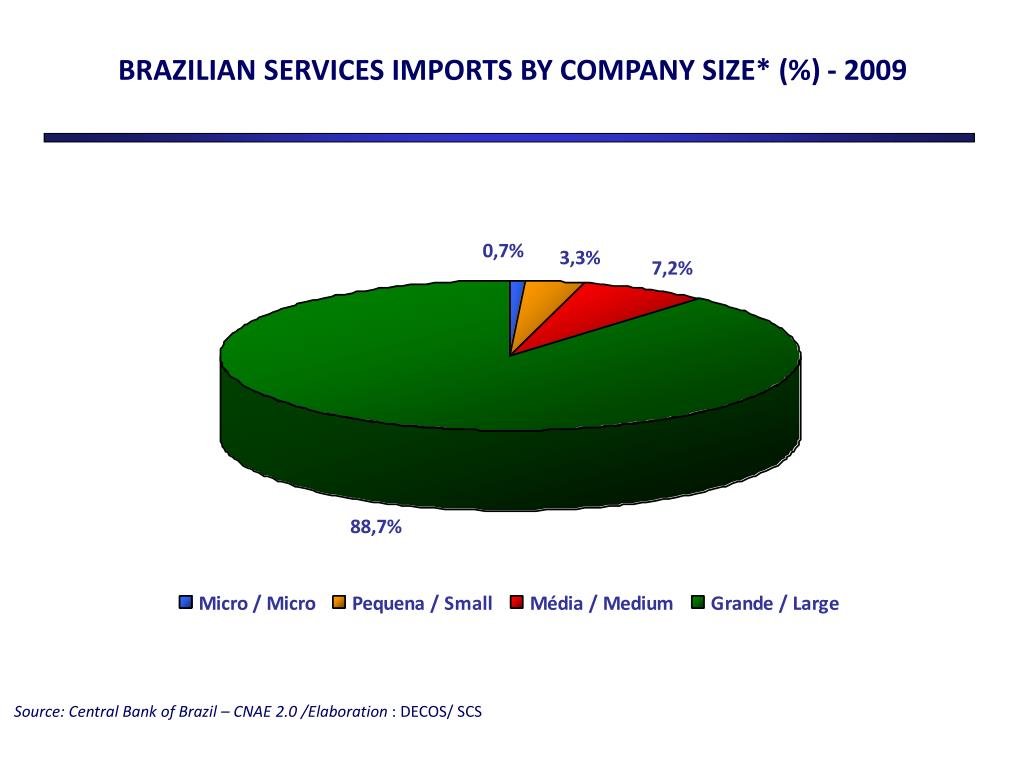 BRAZILIAN SERVICES IMPORTS BY COMPANY SIZE* (%) -
