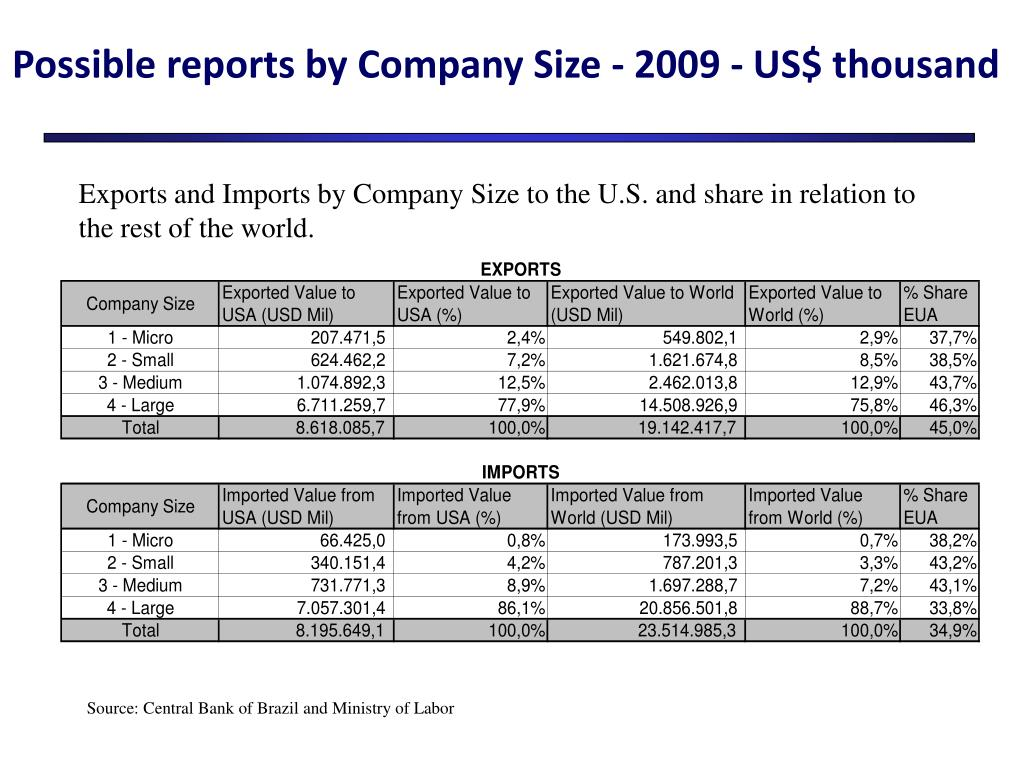 Possible reports by Company Size -