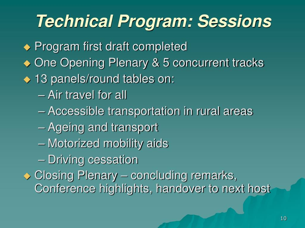Technical Program: Sessions