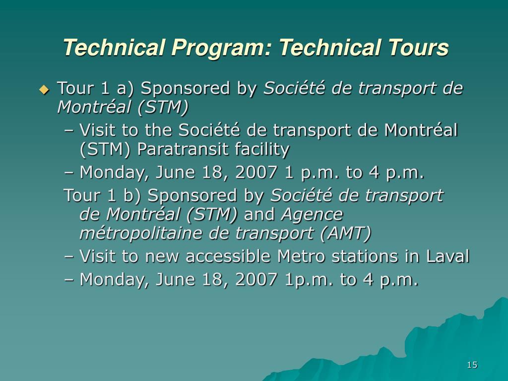 Technical Program: Technical Tours